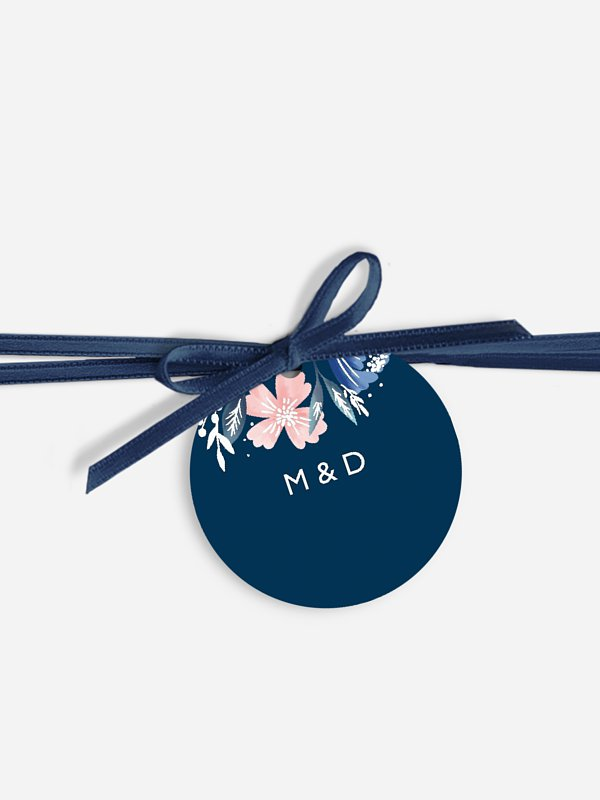 Étiquette avec ruban Noble Flowers