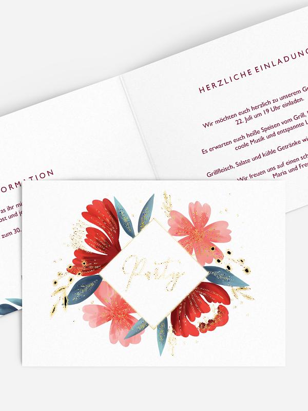 Partyeinladung Noble Flowers Premium
