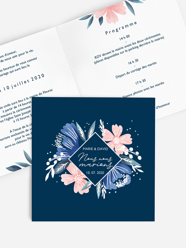Faire-part de mariage Noble Flowers - dorure
