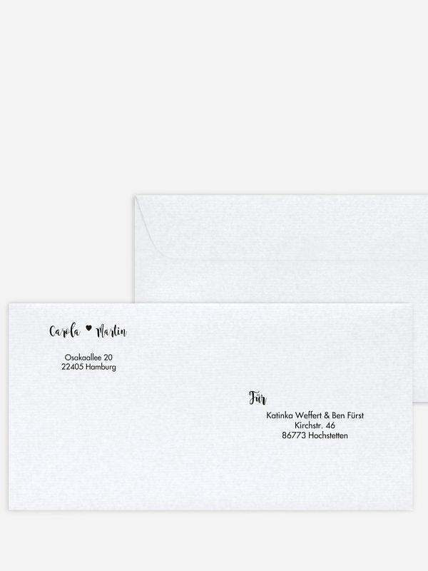 Bedruckter Briefumschlag Hochzeit Kalligrafieherz