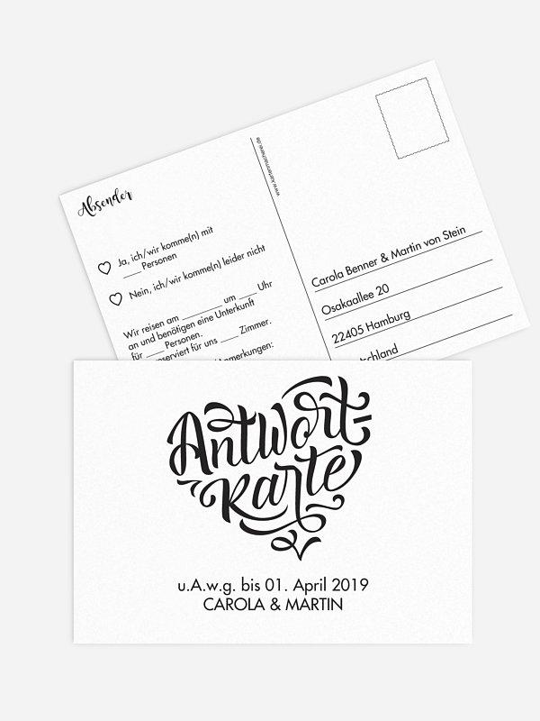 Antwortkarte Hochzeit Kalligrafieherz
