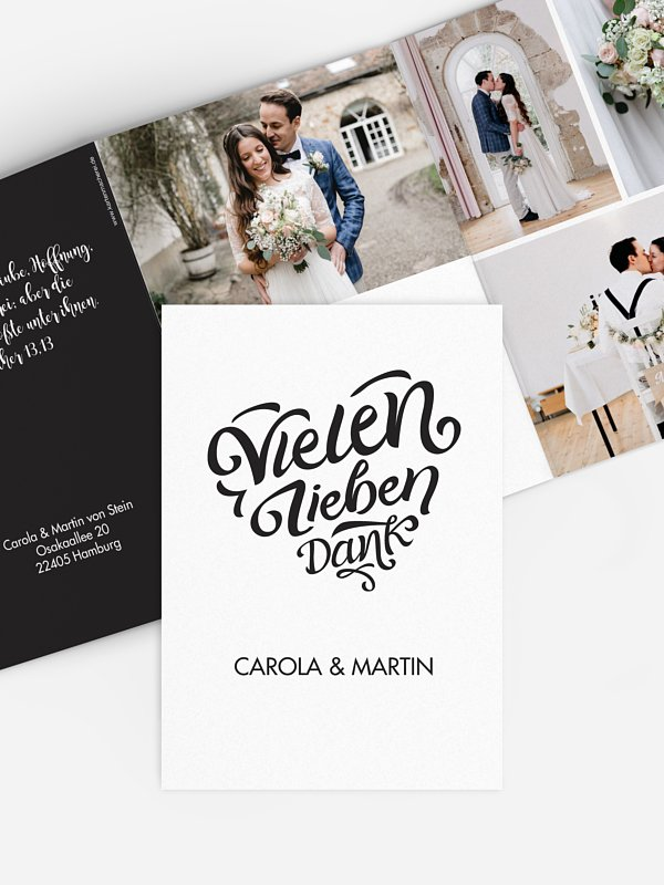 Dankeskarte Hochzeit Kalligrafieherz
