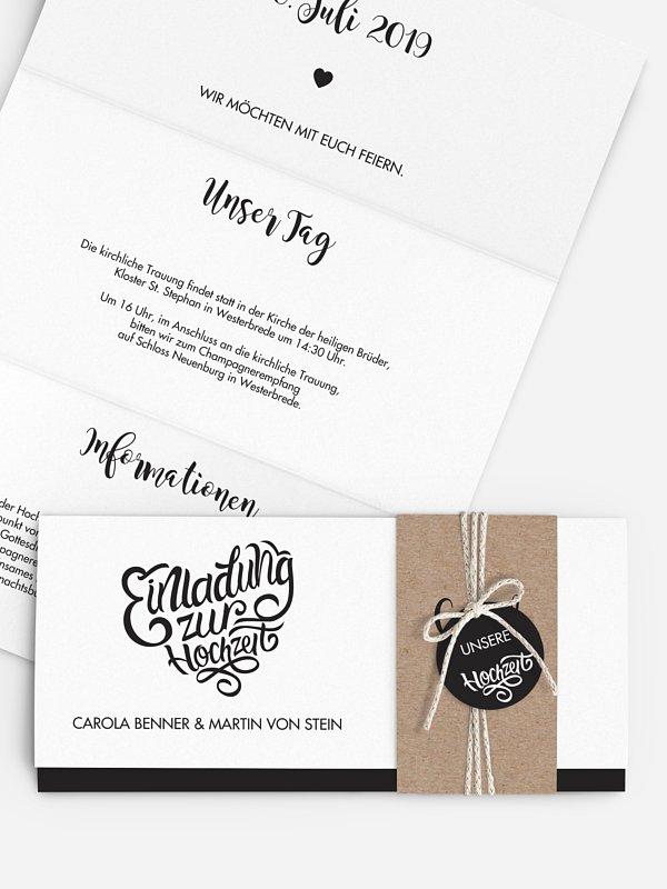 Hochzeitseinladung Kalligrafieherz