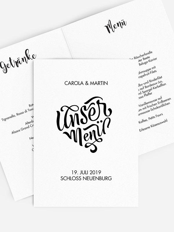 Menükarte Hochzeit Kalligrafieherz