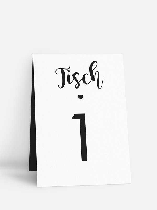 Tischnummer Kalligrafieherz