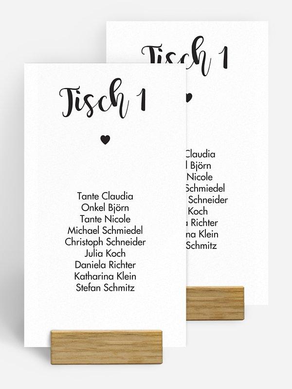 Gruppentischkarte Kalligrafieherz