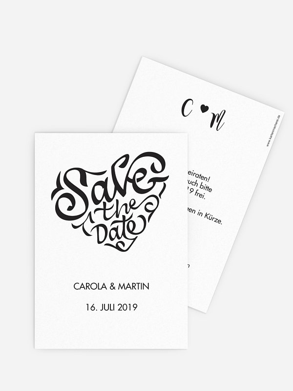 Save-the-Date Karte Kalligrafieherz