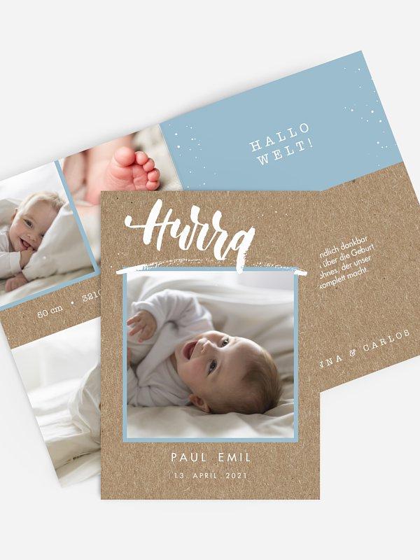 Geburtskarte Freudensprünge Kraftpapier