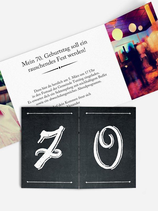 Einladung 70. Geburtstag Tafel