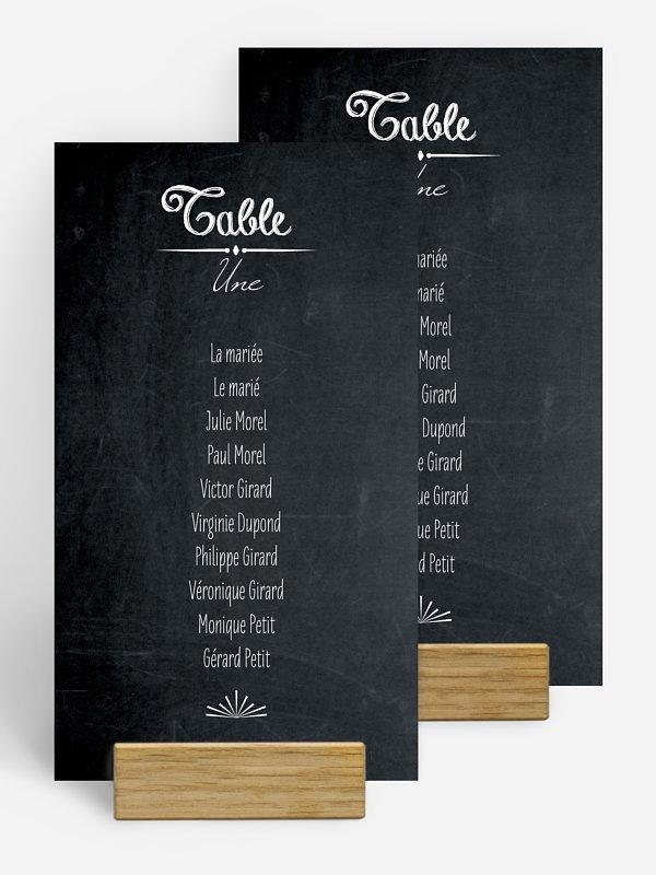 Nom de table mariage Ardoise