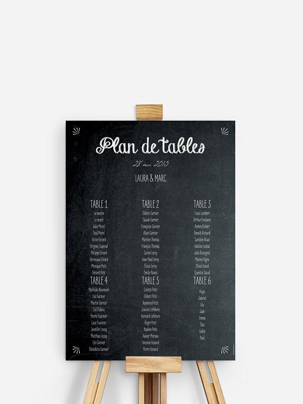 Poster plan de table mariage Ardoise