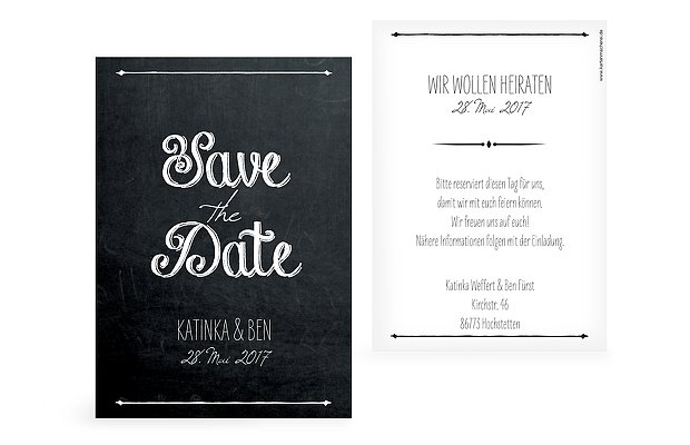 "Save-the-Date Karte ""Tafel"""