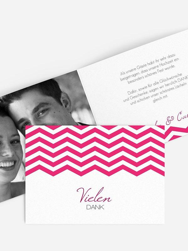Dankeskarte Hochzeit Chevron