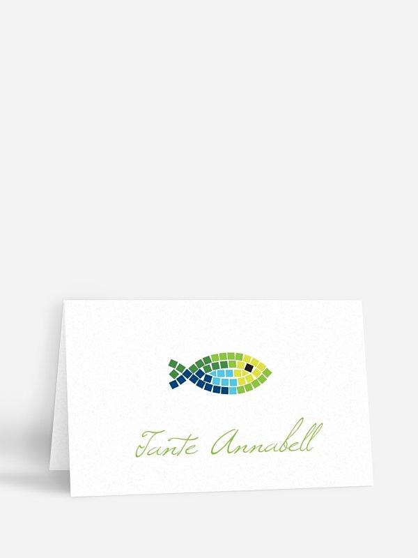 Tischkarte Kommunion Mosaikfisch