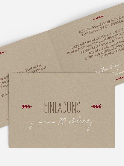 Einladung Zum 70 Geburtstag Einladungskarten Gestalten