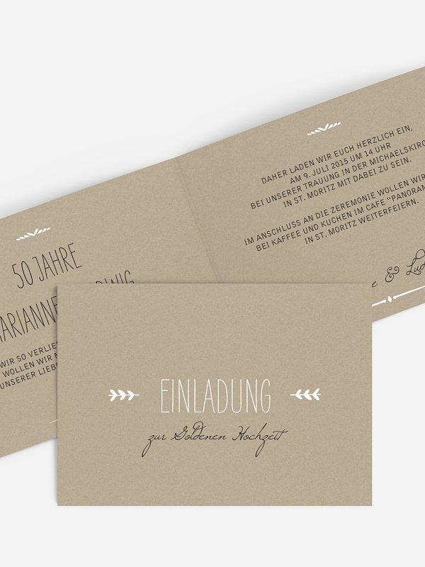 Einladung zur Goldenen Hochzeit Rustic Love