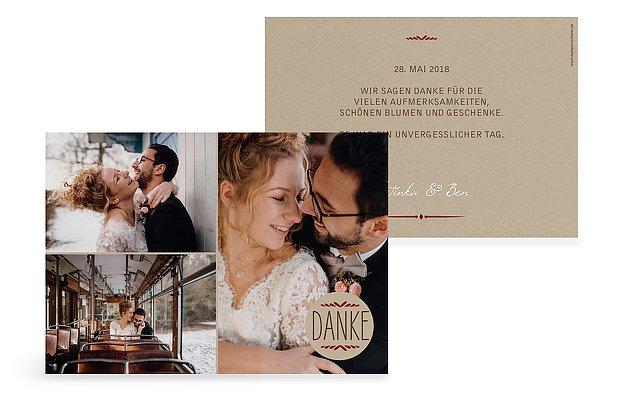 "Dankeskarte Hochzeit ""Rustic Love"""