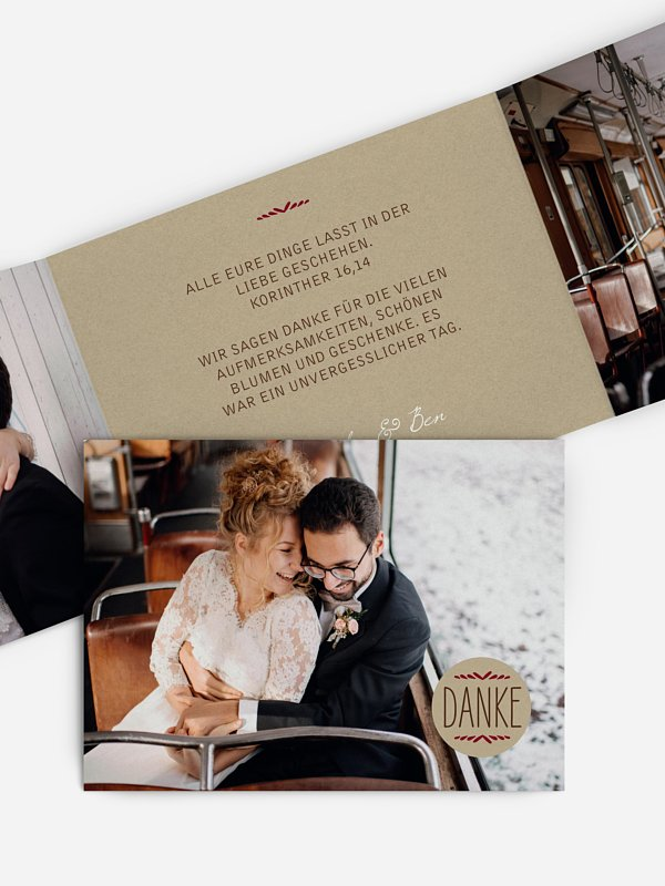 Dankeskarte Hochzeit Rustic Love