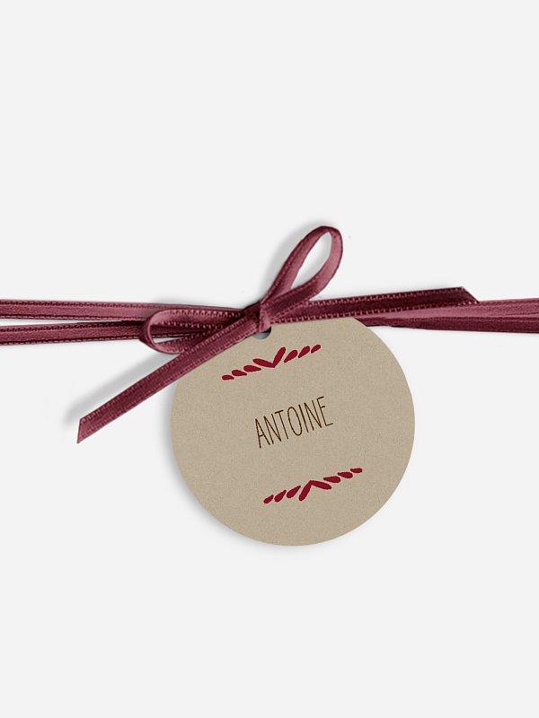 Étiquette avec ruban mariage individuelle Rustic Love