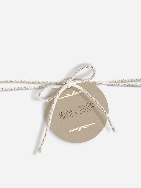 Étiquette avec ruban Rustic Love