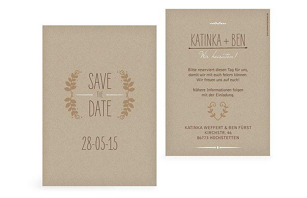 "Save-the-Date Karte ""Kraftpapier"""