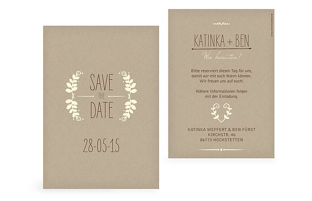 save the date karten zur hochzeit versand in 1 2 tagen. Black Bedroom Furniture Sets. Home Design Ideas