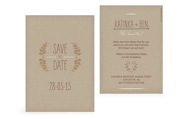 Save-the-Date Karte Rustic Love