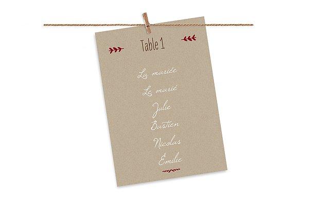 Cartons plan de table mariage Rustic Love