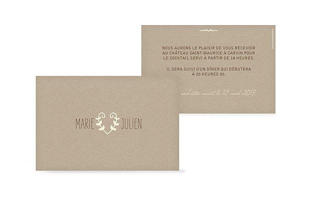 Carton d'invitation Effet Kraft