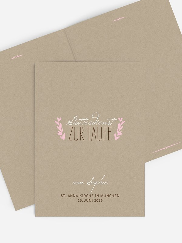 Kirchenheft Taufe Rustic Love