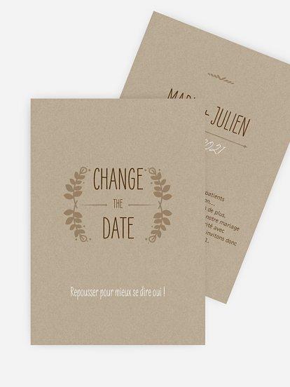 Carte mariage reporté Rustic Love