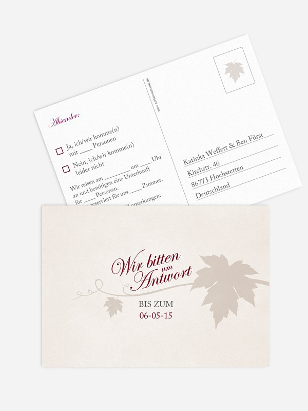 Antwortkarte Hochzeit Weinlaub