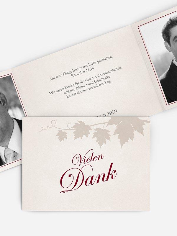 Dankeskarte Hochzeit Weinlaub