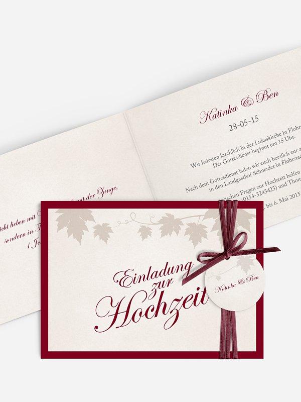 Hochzeitseinladung Weinlaub