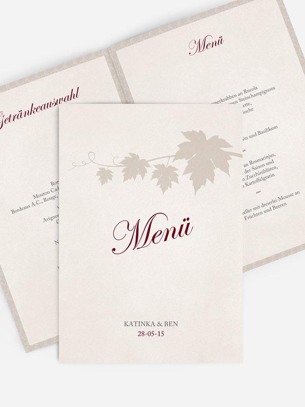 Menükarte Hochzeit Weinlaub