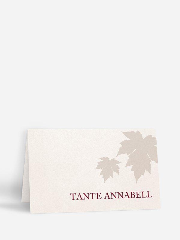 Tischkarte Hochzeit Weinlaub