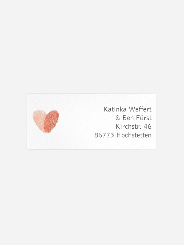 Absenderaufkleber Hochzeit Fingerprint