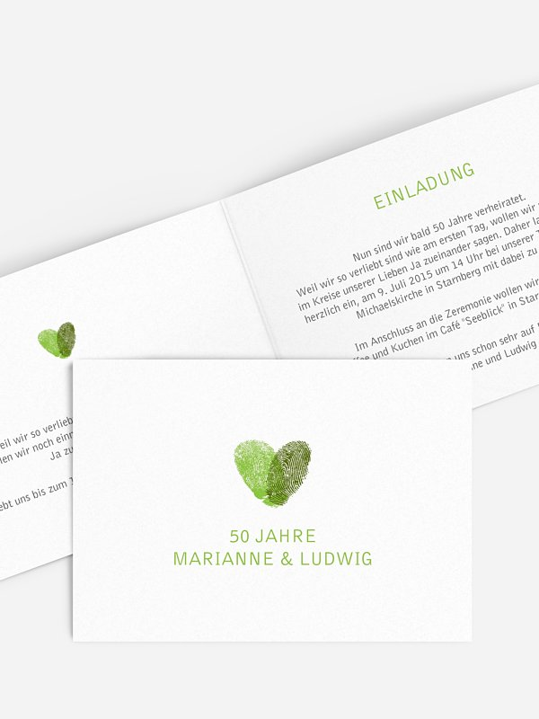 Einladung zur Goldenen Hochzeit Fingerprint