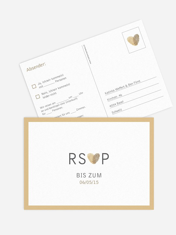 Antwortkarte Hochzeit Fingerprint