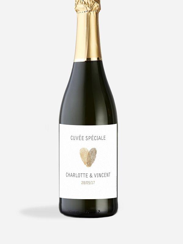 Étiquette bouteille Empreinte du coeur
