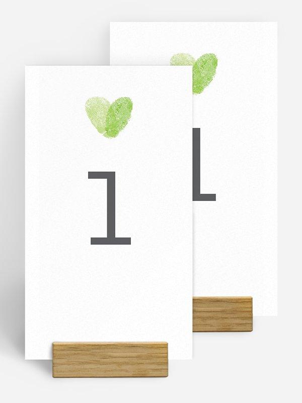 Numéro de table mariage Empreinte du coeur