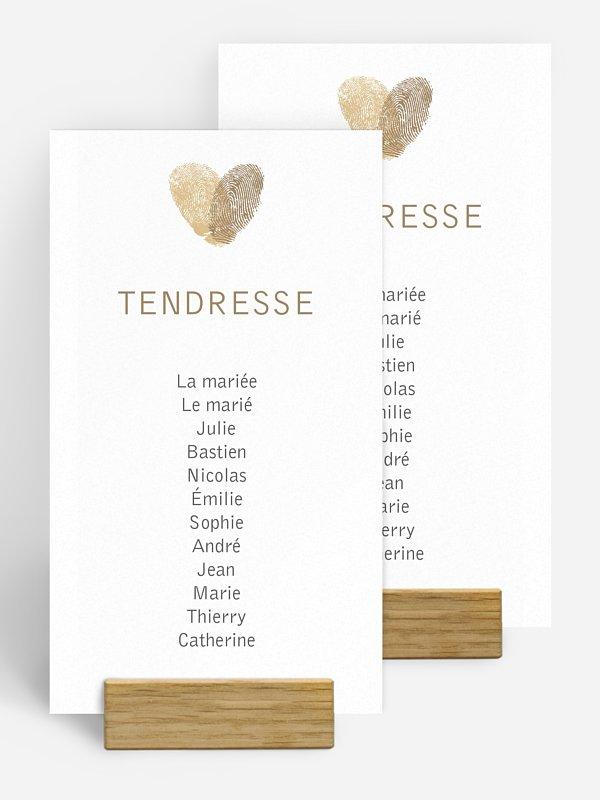 Nom de table mariage Empreinte du coeur