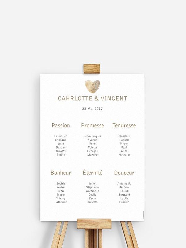 Poster plan de table mariage Empreinte du coeur
