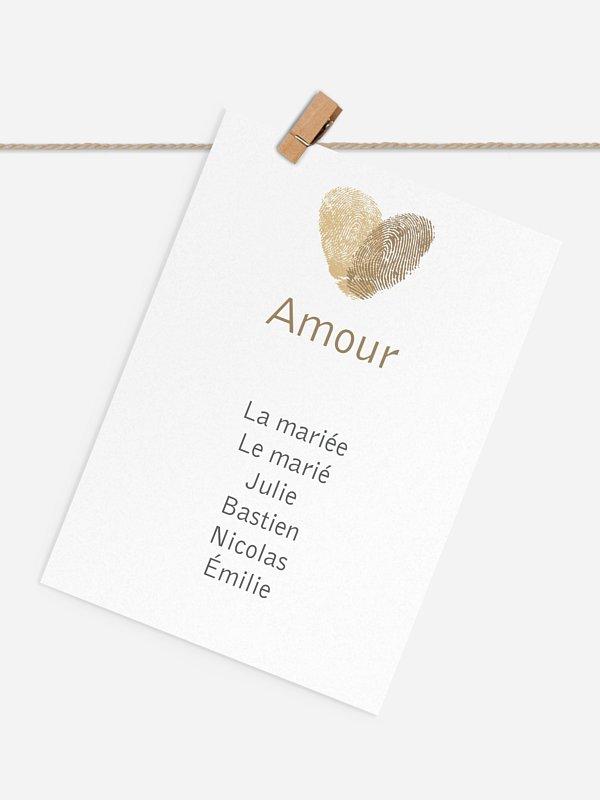Cartons plan de table mariage Empreinte du coeur