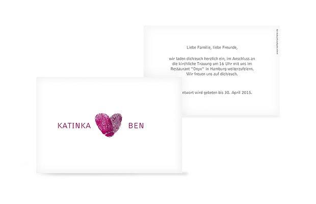 Hochzeit Mini Einladungskarte Fingerprint