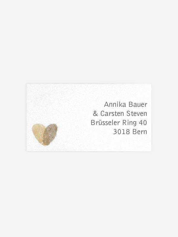 Empfängeraufkleber Hochzeit Fingerprint