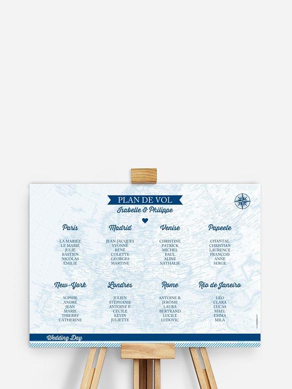 Poster plan de table mariage Billet d'avion