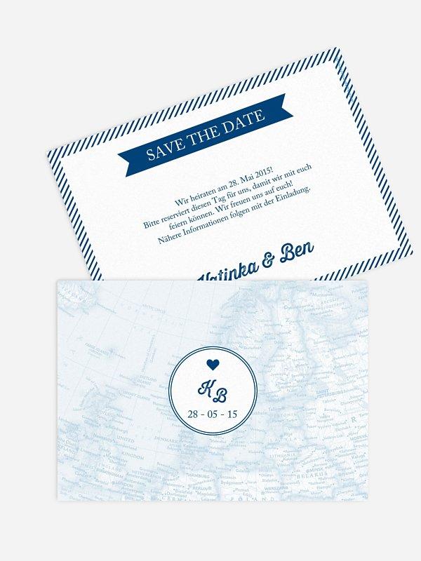 Save-the-Date Karte Reise ins Glück
