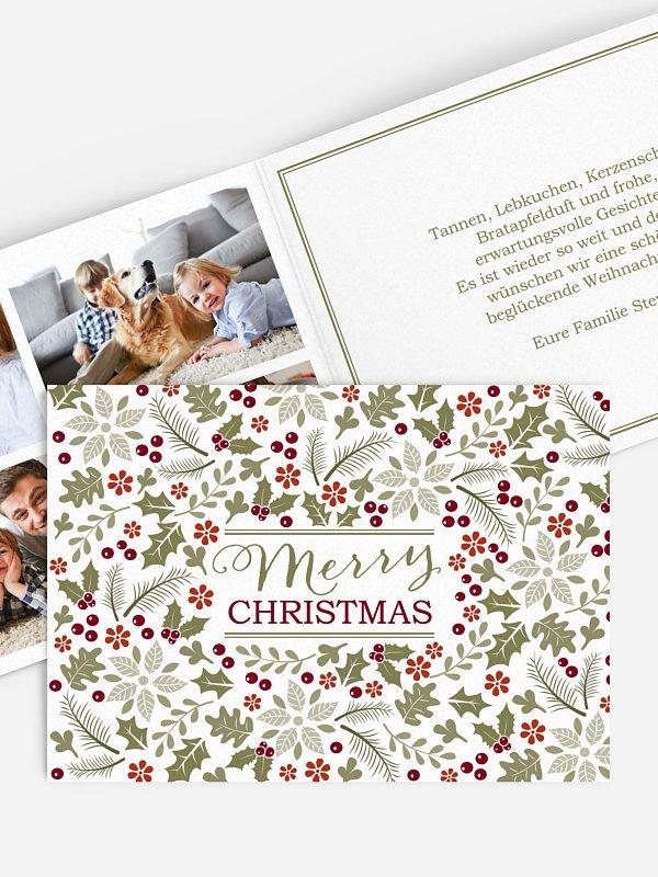Weihnachtskarte Holly