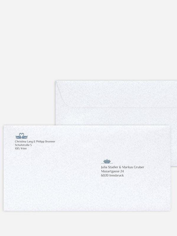 Bedruckter Briefumschlag Hochzeit Schwäne
